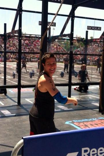 Coach Sara at the 2014 CrossFit Northeast Regionals, with a Top 10 finish in 8th place.