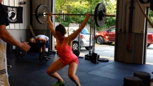Alice, nailing a 100lb Power Snatch.
