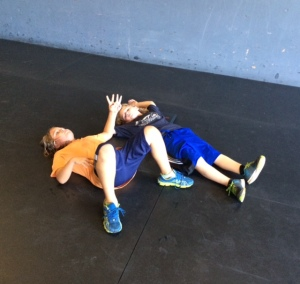 Hudson and Sebastian letting me know they are Ok after a little spicy team wod